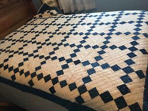 Antique Indigo Blue & Off White Handmade Patchwork Quilt Hand Quilted 78X67