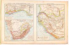 Carta geografica antica SUD AFRICA COSTA D'ORO SENEGAMBIA 1880 Old antique map