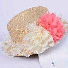Womens Ladies Summer Beach Flower Straw Hat Sun Caps Cloche Derby Panama Boater