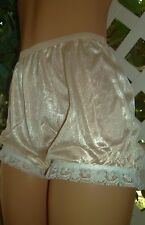 CAROLE'S HONEYDEW NYLON & WHITE RUFFLED LACE GRANNY PANTY 8/XL ~ NWT