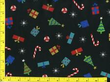 Candy Canes Presents and Trees on Black Half Yard CCHTRE09115