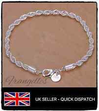 925 Sterling Silver Twisted Rope Cord 8 Inch Bracelet FREE Gift Bag