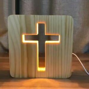 3D Wooden Cross USB Night Light LED Table Lamp Novelty Kids Bedroom Decoration
