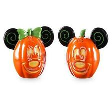 New Disney Store Mickey & Minnie Mouse Pumpkin Halloween Salt And Pepper Set