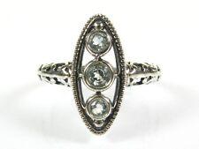 .36ctw Natural Round Cut Aquamarine Victorian Deco 925 Sterling Filigree Ring s7