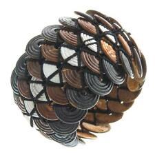 "7-8"" COCONUT WOOD BUTTON HANDMADE STRETCH 2"" WIDE bracelet"