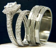 His & Her Men & Woman Diamond Wedding Engagement Bridal Trio Set 14K Gold Over