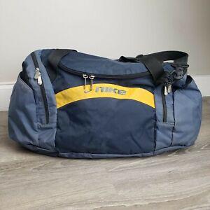 *VTG 90s NIKE DUFFLE BAG 25x17 Navy Blue Yellow GYM Travel Zipper Shoulder Strap
