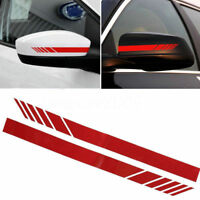 1Pair Red Car Rearview Mirror Stickers Vinyl Decals Decor Reflective Warn