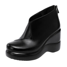 Women's Ankle Boots Casual Wedge High Heels Round Toe Zip Plus Size Winter Shoes