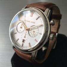 Mens Michael Kors Designer Watch LANDAULET MK8372 Steel Leather Chronograph
