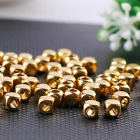 100Pcs Elegant Brass Gold Cube Beads Spacer Jewelry Necklace Bracelet Making DIY