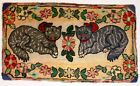 ANTIQUE  ALL HAND MADE RUG WITH FIGURES OF TWO CATS