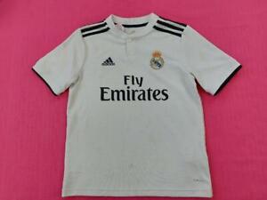 Boys Adidas Fly Emirates Short Sleeve Climalite Football Jersey Top White Medium