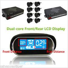 Dual-core Front/Rear LCD Display Car Reverse Backup Radar 8 Black Parking Sensor