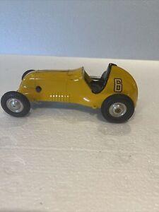 Vintage Roy Cox Thimble Drome Champion Tether Race Car # 6 Yellow Winding Car