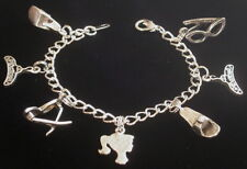Vintage Barbie Doll Theme Charm Bracelet 7 inch Sterling Silver Plate & OMS