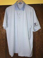 Peter Millar Mens Large Summer Comfort Polo Shirt Striped Blue White C15