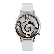 Clave De Sol Nota de la música Reloj Blanco De Cuero Pu Correa Musical Transparente