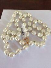 $78 Lauren Ralph Lauren Gold-tone Imitation Pearl Strand Necklace #499