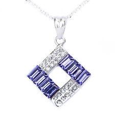 "Baguette Tanzanite & Pave Cz  .925 Sterling Silver Pendant Necklace w/ 18"" Chain"