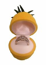 Cute Pineapple Ring Box Organizer Storage Display Yellow Holder Jewelry Case
