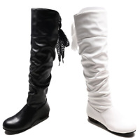 Details about  /Plus Size Womens Pleated Boots Comfort Block Heel Pull On Knee High Riding Boots