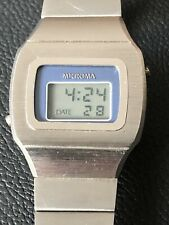 """Vintage Microma LCD Stainless Steel Blade Runner """"STYLE"""" Mens Watch Working"""