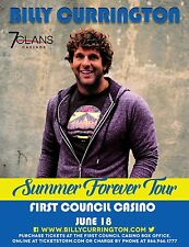 "BILLY CURRINGTON ""SUMMER FOREVER TOUR""2016 OKLAHOMA CONCERT POSTER-Country Music"