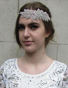 Silver Rhinestone Bridal Headband Art Deco Headpiece Diamante Elasticated T40