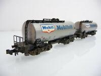 Minitrix N 1:160 3261 2-teiliger Kesselwagen Zug MOBILOIL - Metallausführung