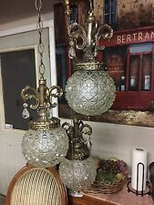 Hollywood Regency Vintage 3 Glass Ball Globe Prism Flush Swag Chandelier fixture