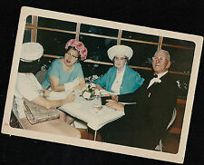 Vintage Photograph People Having Dinner Around Table Women With Cool Hats