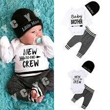 Newborn Baby Boy Romper Top+Pants Outfit Clothes Bodysuit Playsuit 3PCS Sets