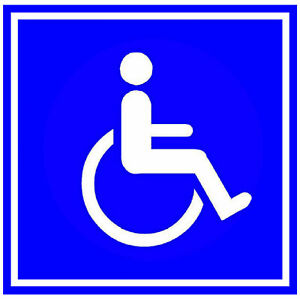 4 X DISABLED - CAR / WINDOW / DOOR INSIDE STICKERS - 2 x SQUARE & 2 X ROUND