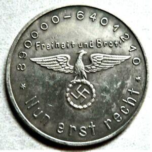 WW2 GERMAN COMMEMORATIVE COLLECTORS REICHSMARK COIN A HITLER