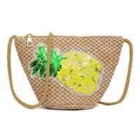 Weaving Sequins Pineapple Shoulder Messenger Handbags Women Crossbody Purse Bags
