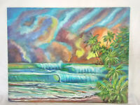"Original Acrylic Painting 11""x14"" Canvas Panel, Tropical Island Beach Decor Art"