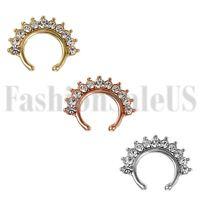 Fashion Fake Stud Earrings Goth Punk Clip On Piercing Body Nose Rings Hoop Ear