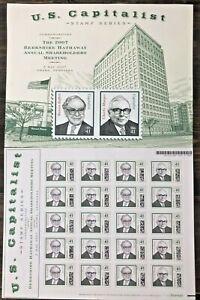 RARE 2007 Berkshire Hathaway U.S. Capitalist Series Stamps Warren Buffett *MINT*