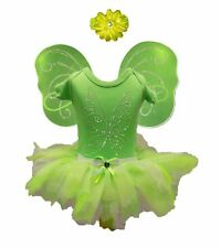 Tinkerbell Tutu Skirt Fairy Fancy Dress Rhinestone Wings Baby Grow Toddler Set