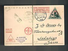 1933 Pelikan Netherlands Indies KLM Pander Postjager postcard Cover to Salatiga