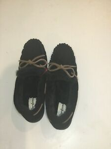 Dearfoams Genuine Suede Or Wool Moccasine With Tie Size 10 Women's Slippers