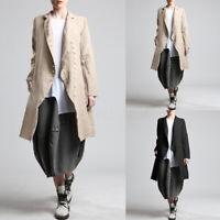ZANZEA Damen Langarm Trenchcoat Kragen Retro Lang Lose Baumwolle Linen Outwear