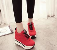 Sneakerssport Womens Lace Up thick High Wedge Heel  Platform Creeper Shoes 2018