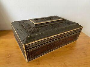 Antique Indian Carved Sandalwood & Sadeli Work Box For Restoration c1850