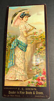Drown Boots Shoes Pretty Lady Corset Clothing Card Sign 1900 Brattleboro VT