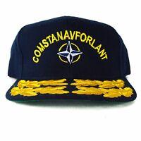 US NAVY Hat Cap Military COMSTANAVFORLANT AJM Sailor Standing Naval Force Blue