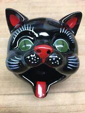 Vintage Black Cat Ashtray Incense Burner Ceramic Head 109