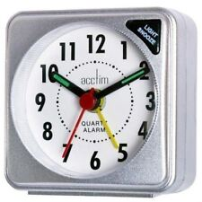 Acctim Ingot Quartz Travel/Mini Alarm Clock Snooze/Light Analogue Face SILVER